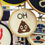 Oh Poop Emoji Funny Counted Cross Stitch DIY KIT Beginner