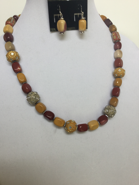 Yellow Jasper Nuggets & Clay Beads Necklace