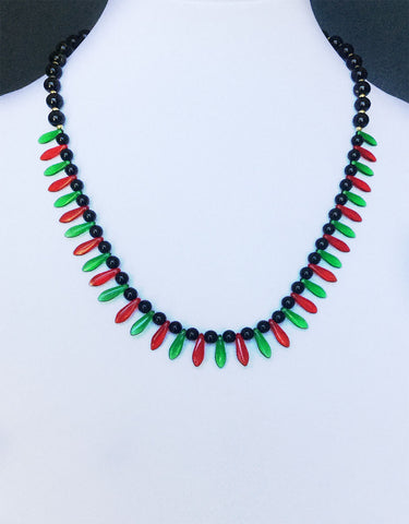 Red & Green Czech Daggers & Gold Plated Beads Necklace