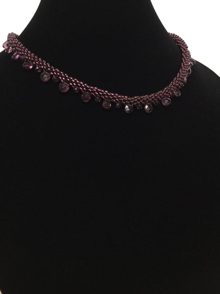 Purple Red Quartz Kumihimo Necklace