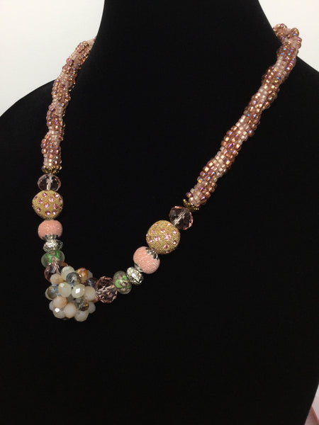 Golden Pink Champagne Beauty Kumihimo Necklace