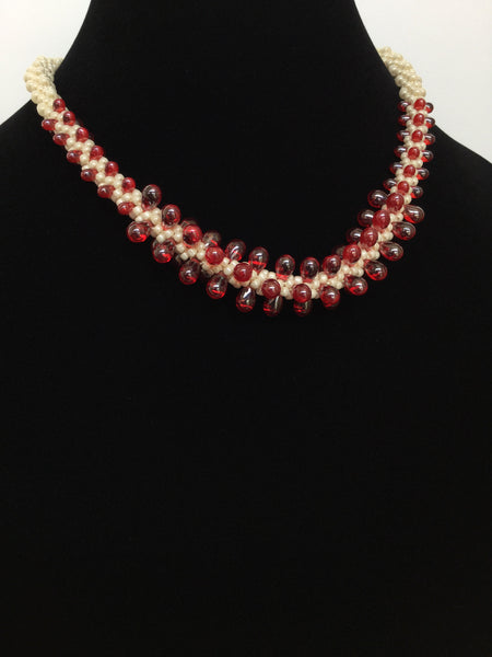Cream & Red Teardrops Kumihimo Necklace