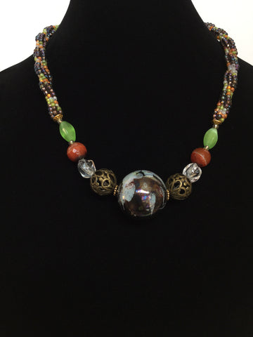 Dark Gray, Orange & Apple Green Kumihimo Necklace