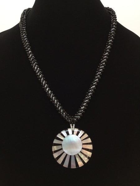 Black & White Round Sea Shell Pendant Kumihimo Necklace