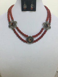 Carnilian double strand necklace