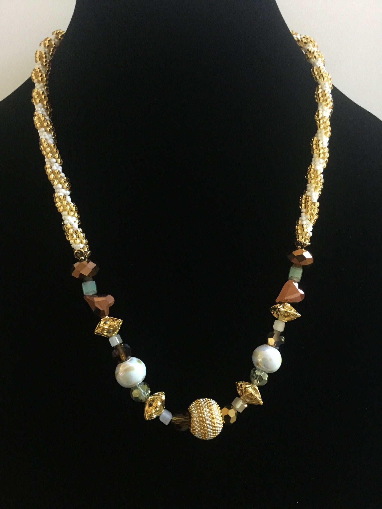 Topaz & White Kumihimo Necklace
