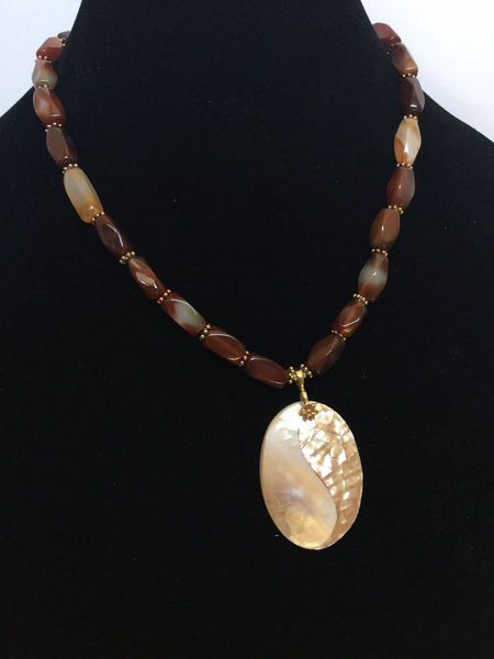 Brownish Agate Rectangular Tube Beads W/ Oval Shell Mosaic Pendant Necklace