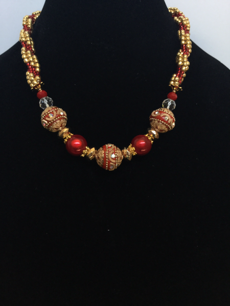 Red & Gold Beads Kumihimo Necklace