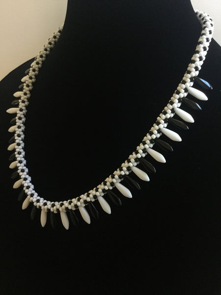 Black & White Czech Daggers Necklace