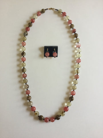 Watermelon Quartz Beads Necklace & Earrings Set