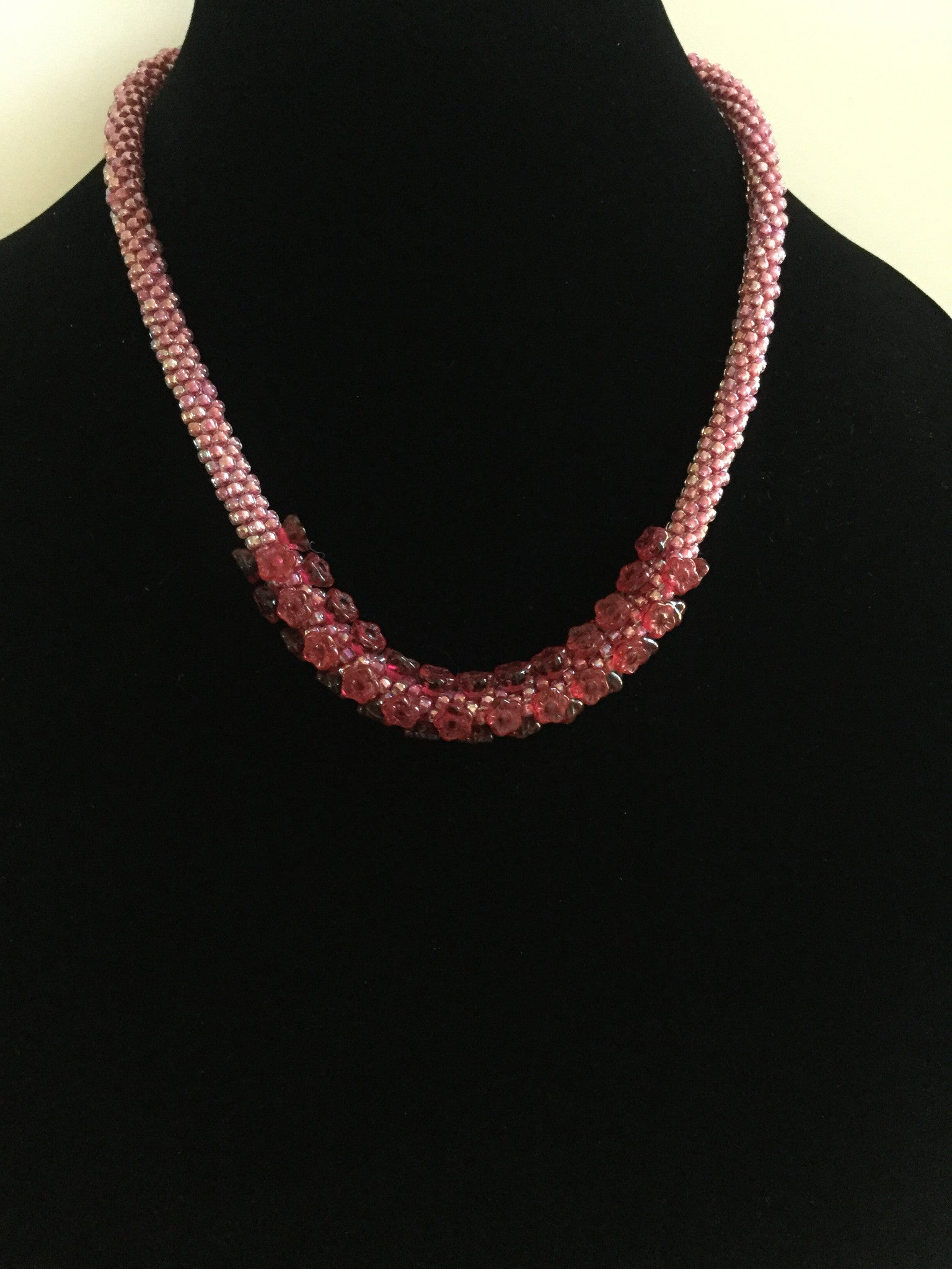 Rose Czech Flower Bead Necklace