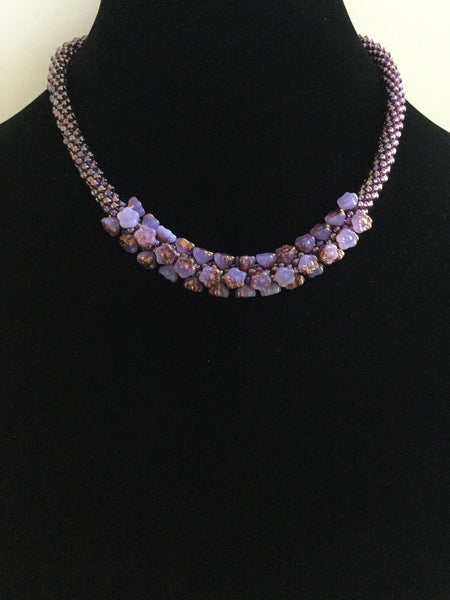 Bronzed Lilac Flower Bead Necklace
