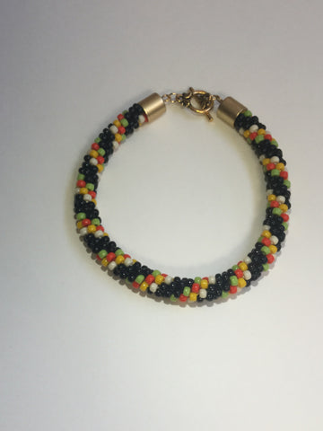 Yellow, Orange, Green, Beige & Black Bracelet