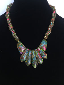 Aqua, Green & Fuchsia Jasper Bib Necklace