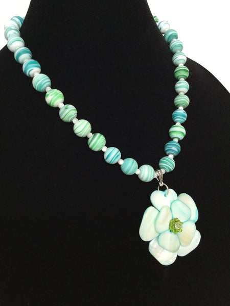 Aqua Shell Pendant Necklace