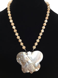 Butterfly-Shaped Mother of Pearl Pendant Necklace