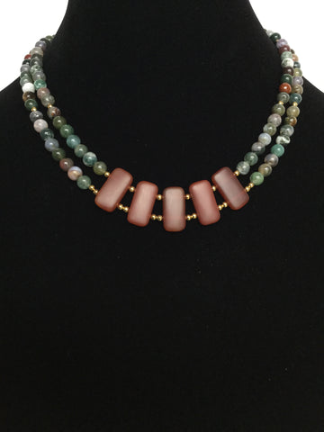 Fancy Jasper Double Strand Necklace