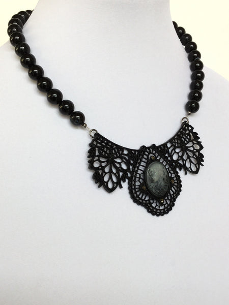 Black Metal Pendant with Cameo Necklace