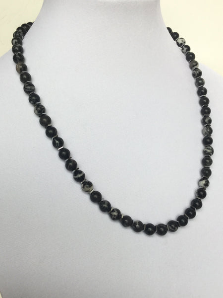 Zebra Stone Beads Men's Necklace