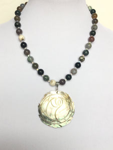 Fancy Jasper W/Rose Shell Pendant Necklace