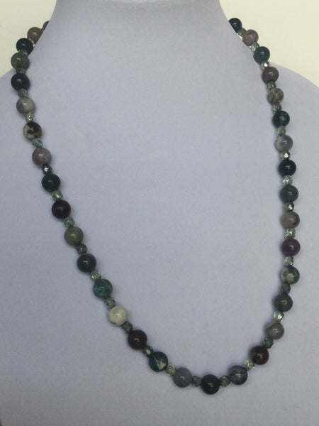 Fancy Jasper w/Czech Green Beads Necklace