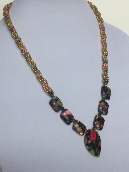 Multi Color Jasper w/Pointed Oval Pendant Necklace