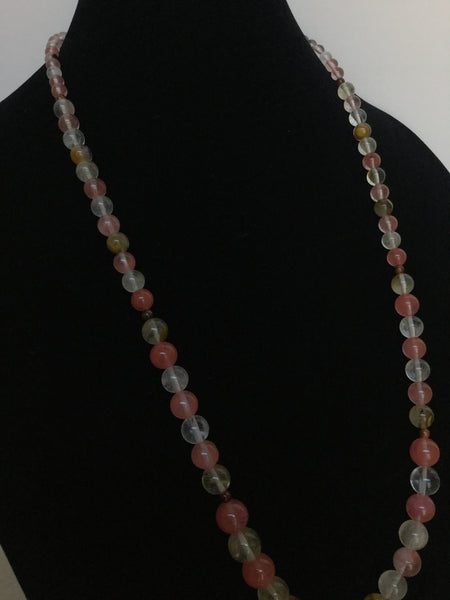 Graduated Watermelon Quartz Necklace