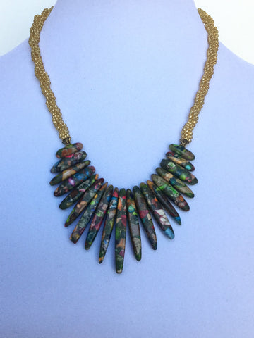 Gemstone Multi-Composite Bib Kumihimo Necklace