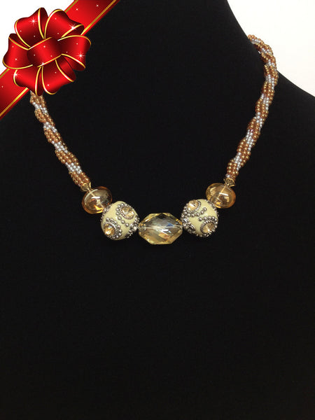 Topaz  & Cream Kumihimo Necklace