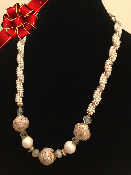 Pearly Shell-Studded Beads w/Pinkish Tone Necklace