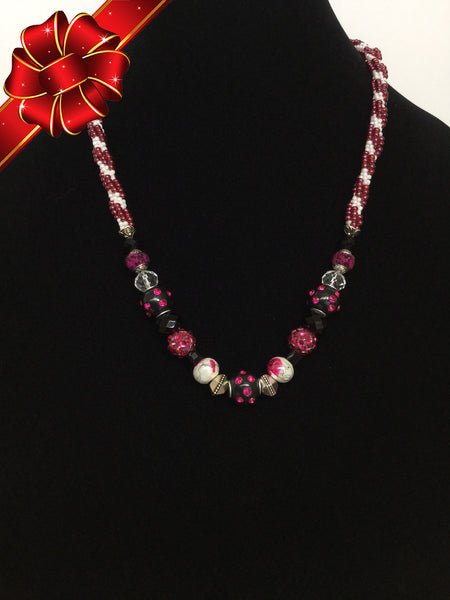 Raspberry, Black & White Fusion Kumihimo Necklace