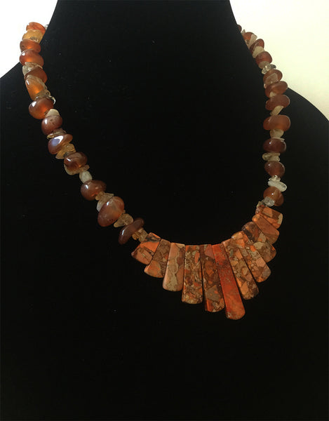 Brown & Orange Jasper Bib Necklace