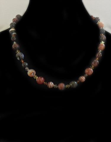 Red Brown Howlite & Glass Composite Bead Necklace