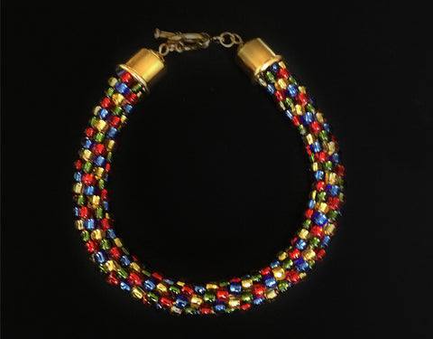 Red, Blue, Gold, Olive Bracelet