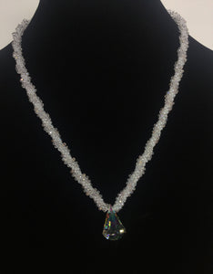 Braided Crystal Necklace with Crystal Teardrop Pendant