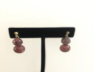 Red Brown Howlite & Glass Composite Bead Earrings