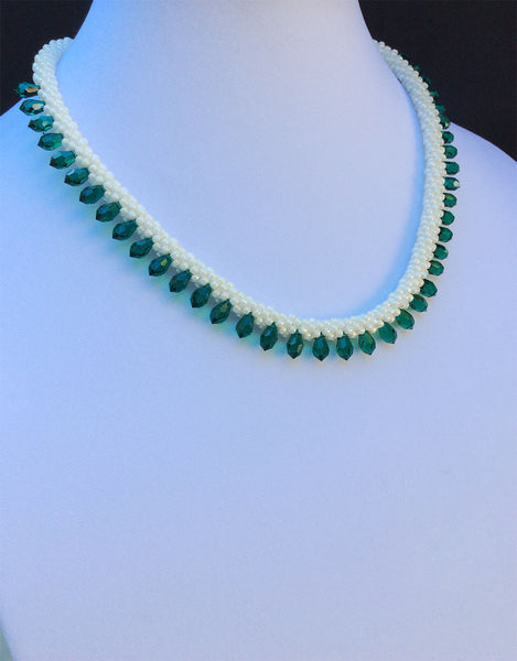 Swarovski Emerald Green Teardrop Crystal Necklace