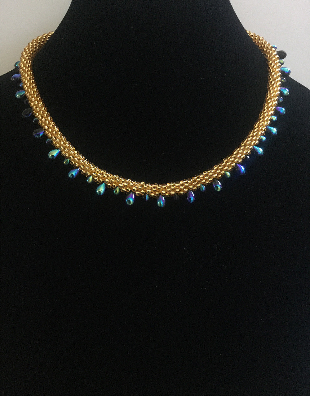 Black Blue & Gold Czech Teardrop Necklace