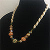 Green, Orange, Tan & White Beads Necklace