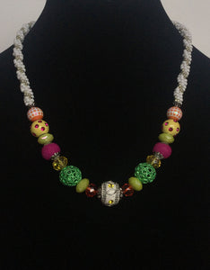 Multi-Colored Beads on White Kumihimo Necklace