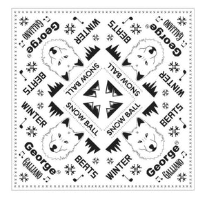 Snow Ball Wolf Bandana - Black / white