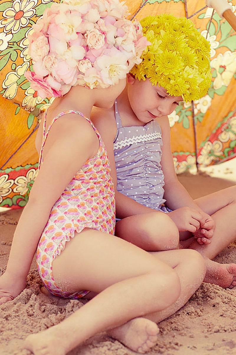 Retro-inspired floral swimming caps