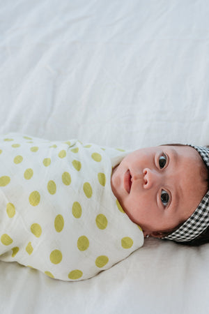 Swaddle // Chartreuse Dot
