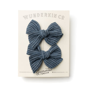 Mini Pinwheel Pigtail Set // Graphite Blue