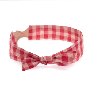Thick Retro Knot // Hot Pink Puckered Gingham