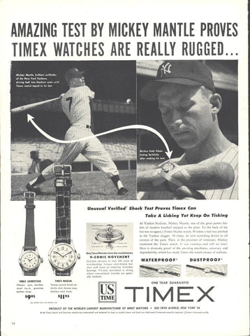 Timex Watches Mickey Mantle Page LIFE October 12 1953