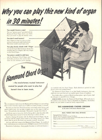 Hammond Chord Electric Organ Page LIFE October 12 1953
