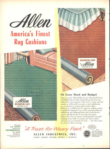 Allen Industries Rug Carpet Cushion Page LIFE October 12 1953