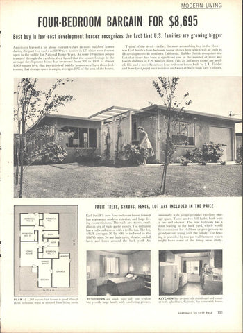 Modern Living House $8,695.00 Page LIFE October 12 1953