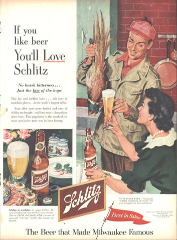 Schlitz Beer Page LIFE October 12 1953